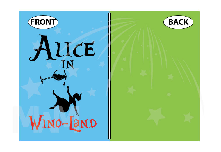 Alice In Wino-Land Ladies Cool Funny Shirt for Wine Lover married with mickey