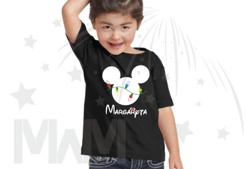 Christmas Shirt Mickey Mouse Christmas Light Bulds With Name Toddler Sizes (500393) married with mickey black tshirt