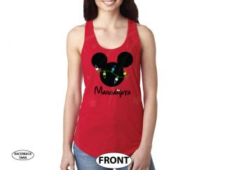 Christmas Shirt Mickey Mouse Christmas Light Bulds With Name married with mickey red tank top