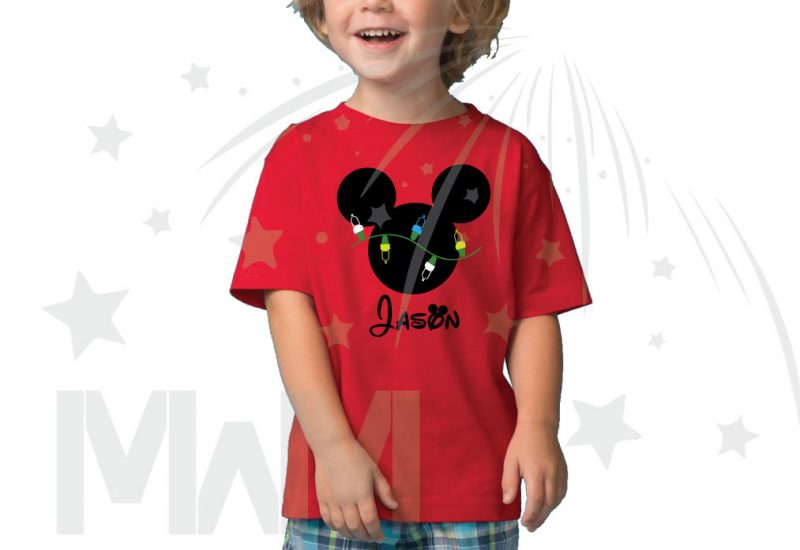 Christmas Shirt Mickey Mouse Christmas Light Bulds With Name Toddler Sizes (500393) married with mickey red tshirt