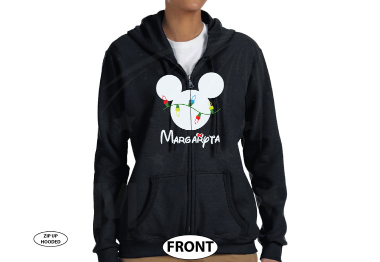 Christmas Shirt Mickey Mouse Christmas Light Bulds With Name married with mickey black zip up hoodie