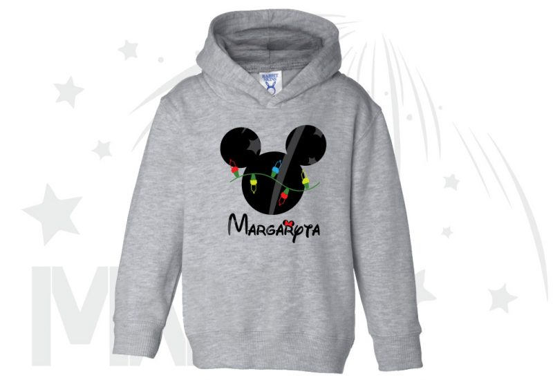 Christmas Shirt Mickey Mouse Christmas Light Bulds With Name Toddler Sizes (500393) married with mickey grey hoodie