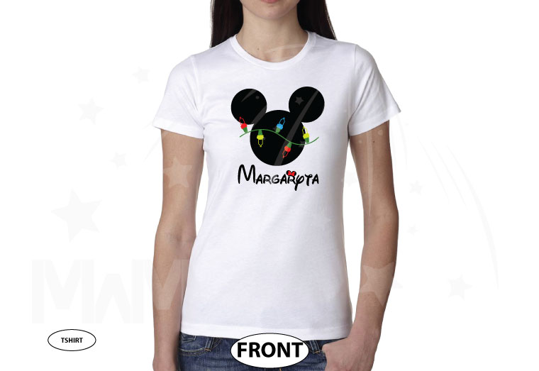 Christmas Shirt Mickey Mouse Christmas Light Bulds With Name married with mickey white tshirt