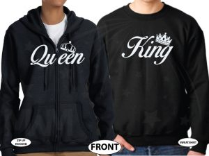 King and Queen With Crowns married with mickey black zip up and sweater