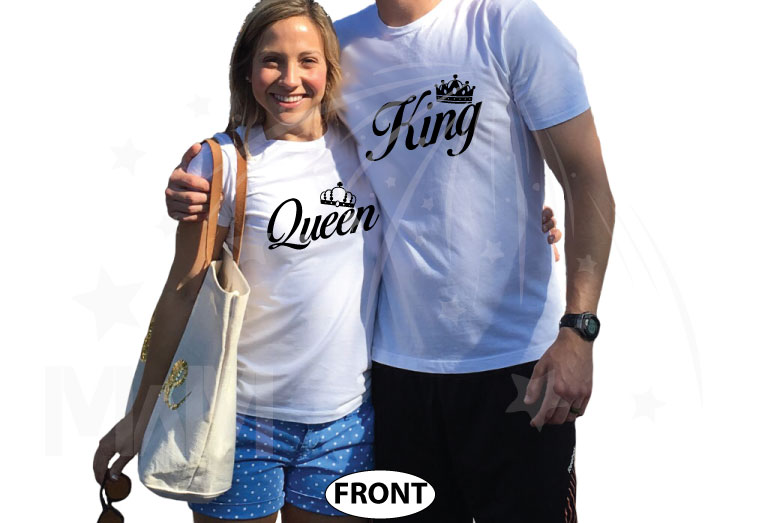 King and Queen With Crowns married with mickey white tshirts