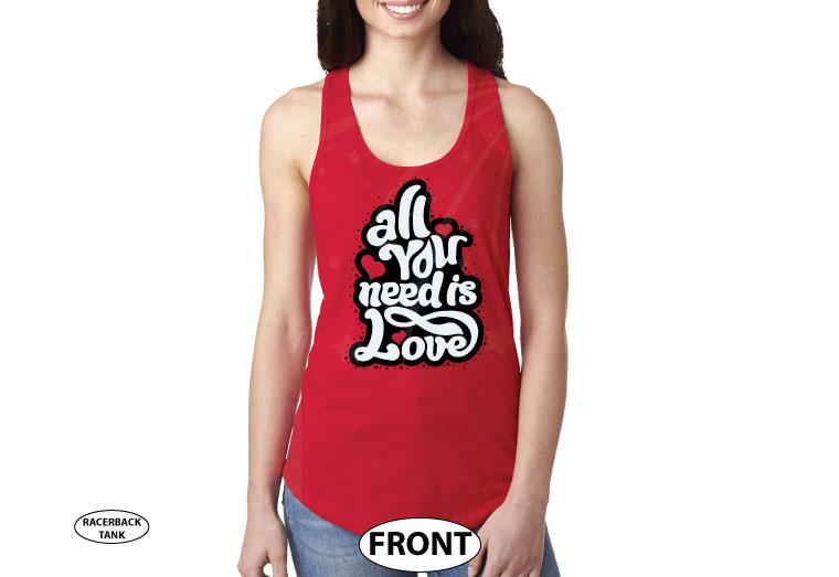 All You Need Is Love married with mickey red tank top