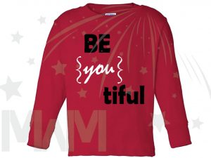 Be you tiful Beautiful Cute Shirt Toddler Sizes Married With Mickey red long sleeve