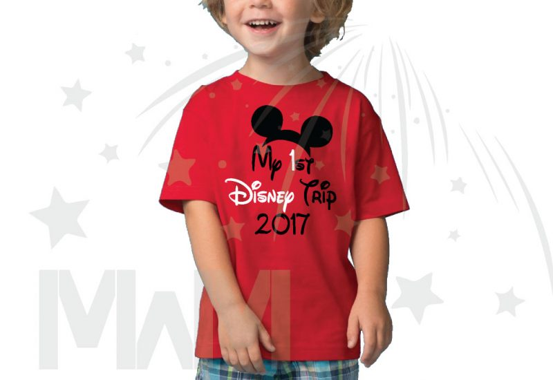 My 1st First Disney Trip 2017 Boy's Toddler Sizes Married With Mickey red tshirt