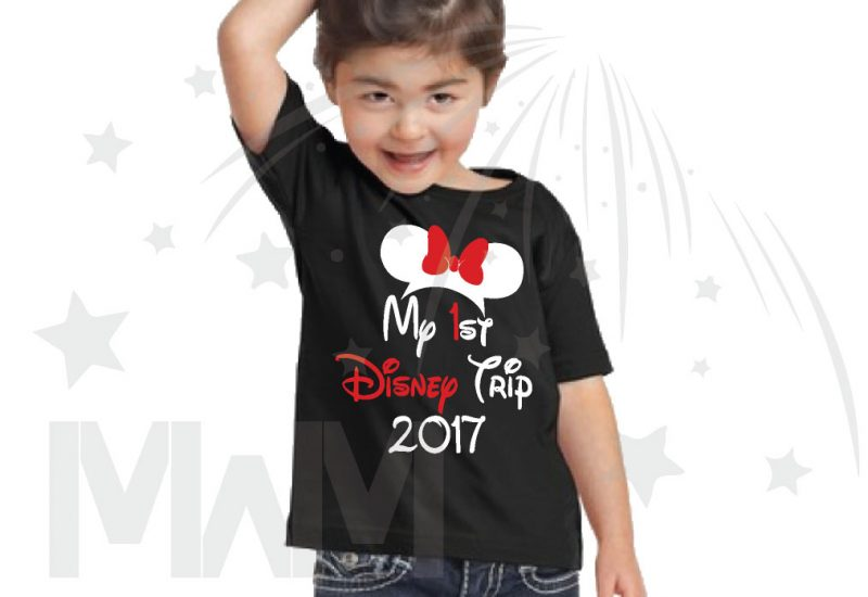 My 1st First Disney Trip 2017 Girl's Design Toddler Sizes Married With Mickey black tshirt