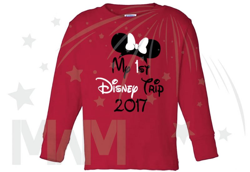 My 1st First Disney Trip 2017 Girl's Design Toddler Sizes Married With Mickey red long sleeve