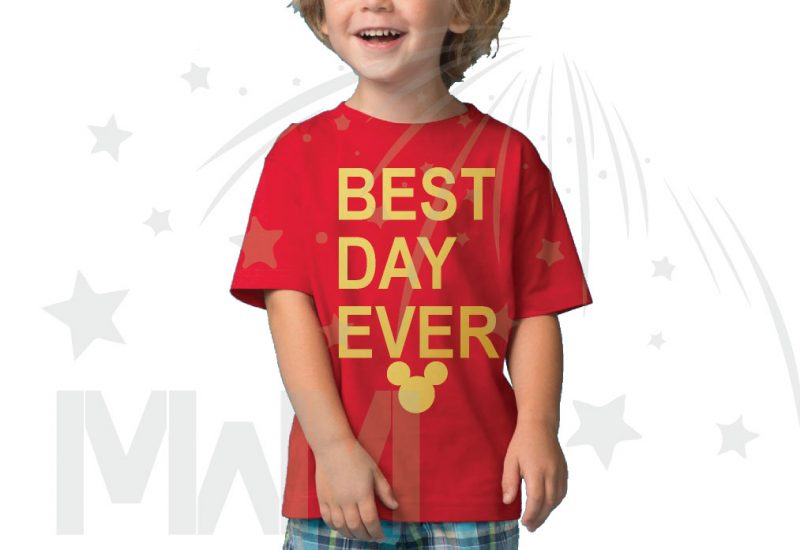 Best Day Ever Mickey Head Gold Graphics married with mickey red tshirt