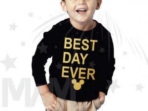 Best Day Ever Mickey Head Gold Graphics married with mickey black sweater