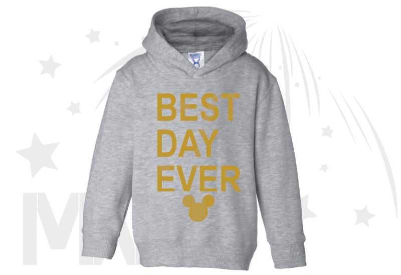 Best Day Ever Mickey Head Gold Graphics married with mickey grey hoodie