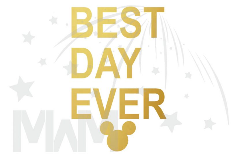 Best Day Ever Mickey Head Gold Graphics married with mickey