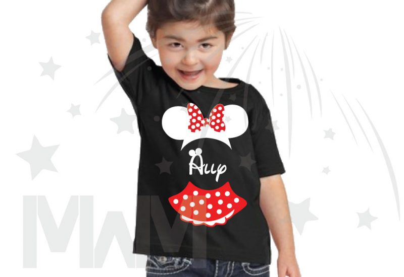 Minnie Mouse Costume Minnie Polka Dot Skirt Mickey Ears With Custom Name Toddler Sizes married with mickey black tshirt