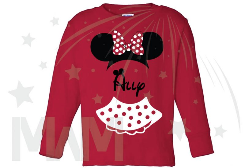Minnie Mouse Costume Minnie Polka Dot Skirt Mickey Ears With Custom Name Toddler Sizes married with mickey red long sleeve