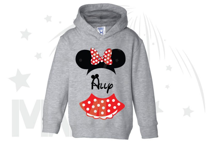Minnie Mouse Costume Minnie Polka Dot Skirt Mickey Ears With Custom Name Toddler Sizes married with mickey grey hoodie
