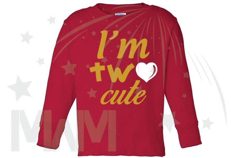 I'm Two Cute Shirt for 2 Year Old Toddler Size Gold Design WIth Red Heart married with mickey red long sleeve