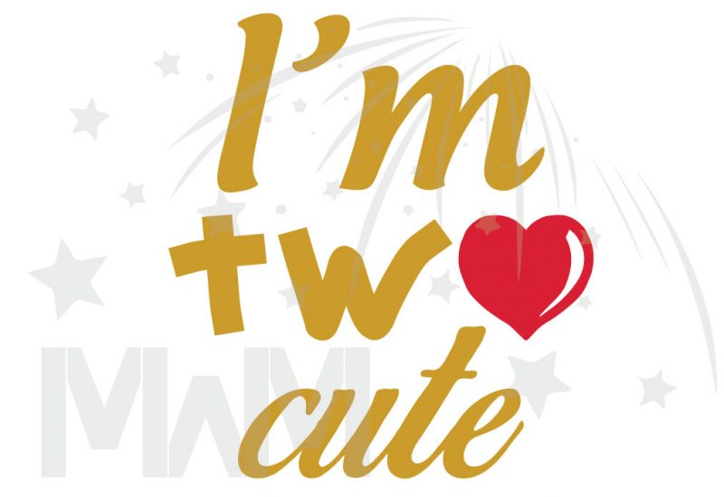 I'm Two Cute Shirt for 2 Year Old Toddler Size Gold Design WIth Red Heart married with mickey