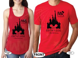 Mr Mrs Last Name Cinderella Castle Mickey Mouse Head 2017 Est Wedding Date married with mickey red tee and tank