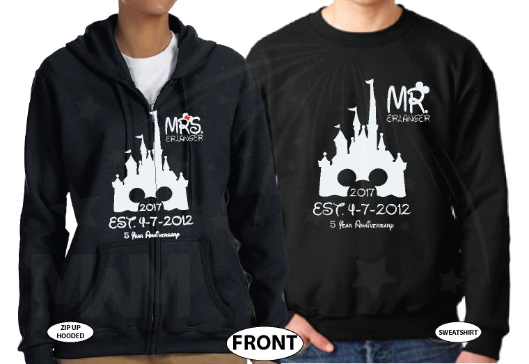 Mr Mrs Last Name Cinderella Castle Mickey Mouse Head 2017 Est Wedding Date married with mickey black zip up and sweater