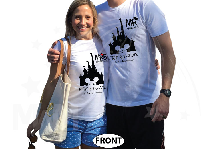 Mr Mrs Last Name Cinderella Castle Mickey Mouse Head 2017 Est Wedding Date married with mickey white tshirts