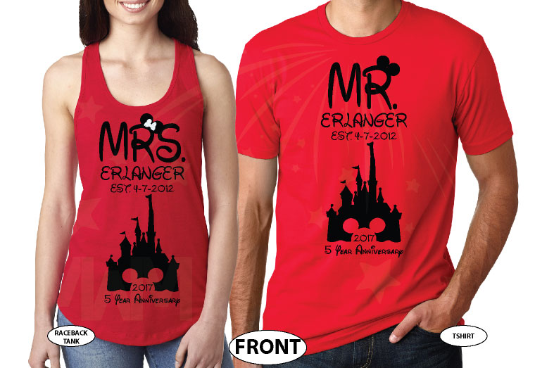 Mr Mrs Last Name Est Wedding Date Cinderella Castle Mickey Mouse Head 2017 5 Year Anniversary (enter your dates and names) married with mickey red tee and tank