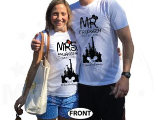 Mr Mrs Last Name Est Wedding Date Cinderella Castle Mickey Mouse Head 2017 5 Year Anniversary (enter your dates and names) married with mickey white tshirts