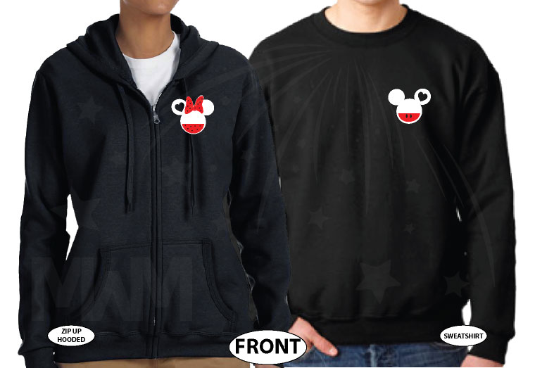 Mickey Minnie Super Cute Disney Matching Couple Shirts, Mix and Match Styles, Add Rhinestones (free, optional) married with mickey black zip up and sweater