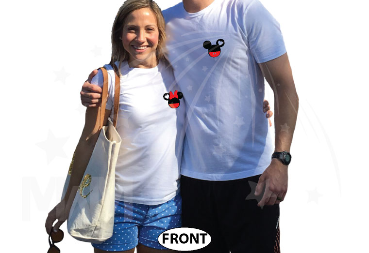 Mickey Minnie Super Cute Disney Matching Couple Shirts, Mix and Match Styles, Add Rhinestones (free, optional) married with mickey white tshirts