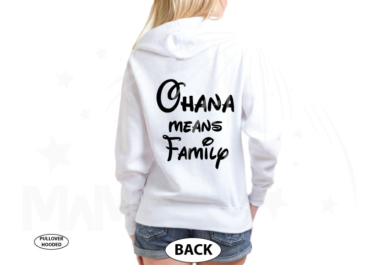 Stitch Ohana Means Family married with mickey white hoodie