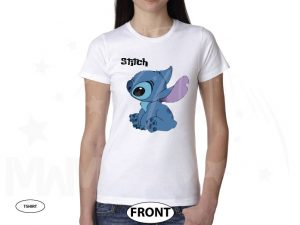 Stitch Ohana Means Family married with mickey white tshirt