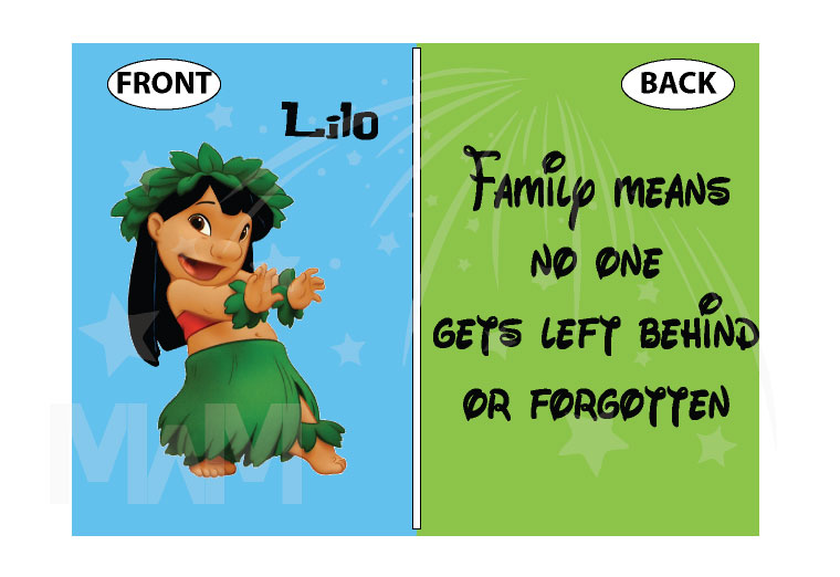 Lilo Family means no one gets left behind or forgotten married with mickey