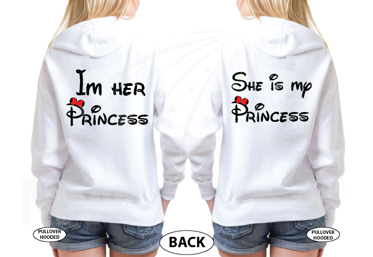 LGBT Lesbian Matching Couple Shirts I'm Her Princess She's My Princess Kissing Minnie Mouse married with mickey white sweaters
