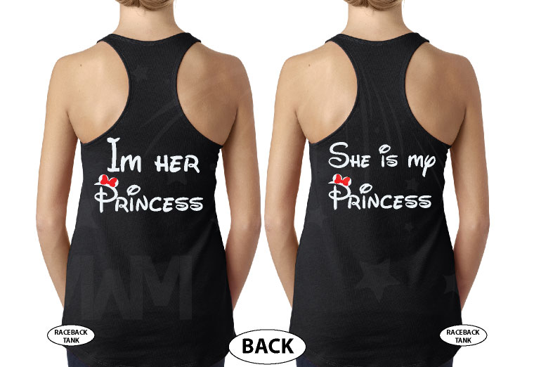 LGBT Lesbian Matching Couple Shirts I'm Her Princess She's My Princess Kissing Minnie Mouse married with mickey black tank tops
