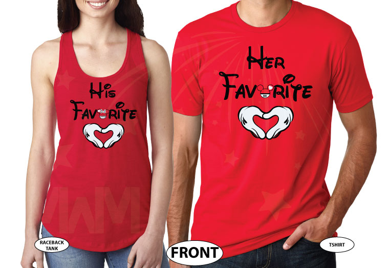 Her Favorite His Favorite Mickey Mouse Head Mickey Hands Heart Shaped married with mickey red tee and tank