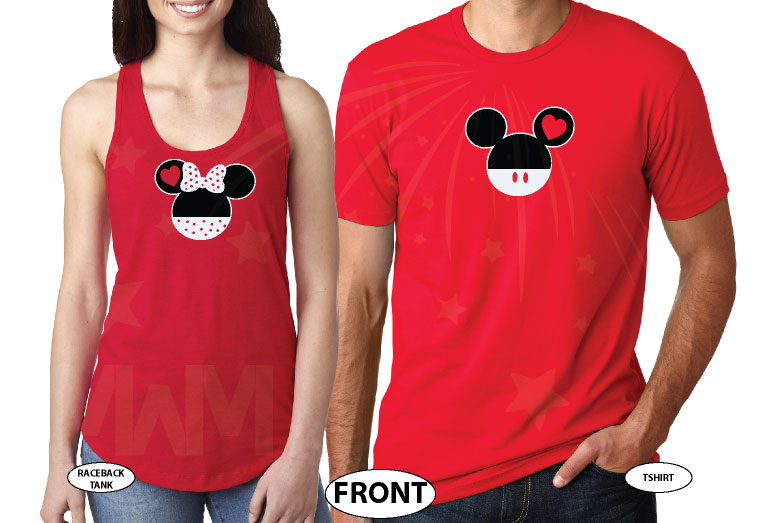 Mr Mrs Last Name Mickey And Minnie Mouse Heads married with mickey red tee and tank
