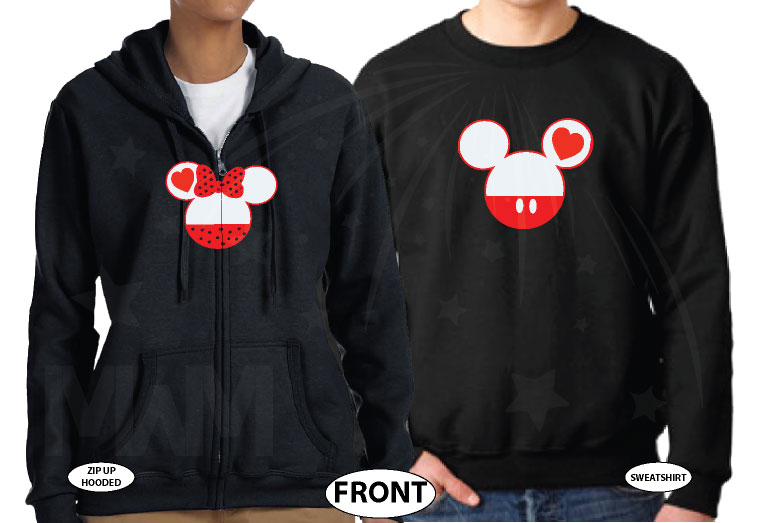 Mr Mrs Last Name Mickey And Minnie Mouse Heads married with mickey black zip up and sweater