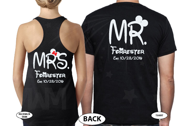 Mr Mrs Last Name Mickey And Minnie Mouse Heads married with mickey black tank and tee