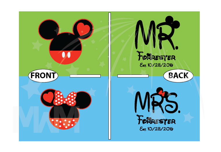 Mr Mrs Last Name Mickey And Minnie Mouse Heads married with mickey