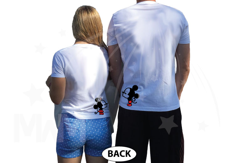 Wifey Hubby Super Cute Mickey Minnie Mouse Kiss on back married with mickey white tshirts