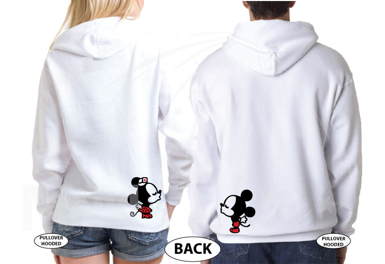Wifey Hubby Super Cute Mickey Minnie Mouse Kiss on back married with mickey white hoodies