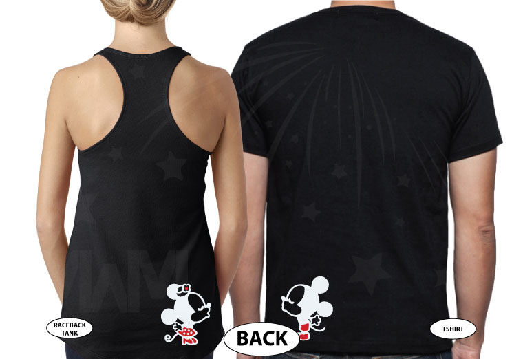 Wifey Hubby Super Cute Mickey Minnie Mouse Kiss on back married with mickey black tee and tank