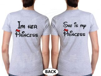 LGBT Lesbians Love Soulmate Shirts Kissing Minnie Mouse I'm Her Princess She's My Princess married with mickey grey tshirts