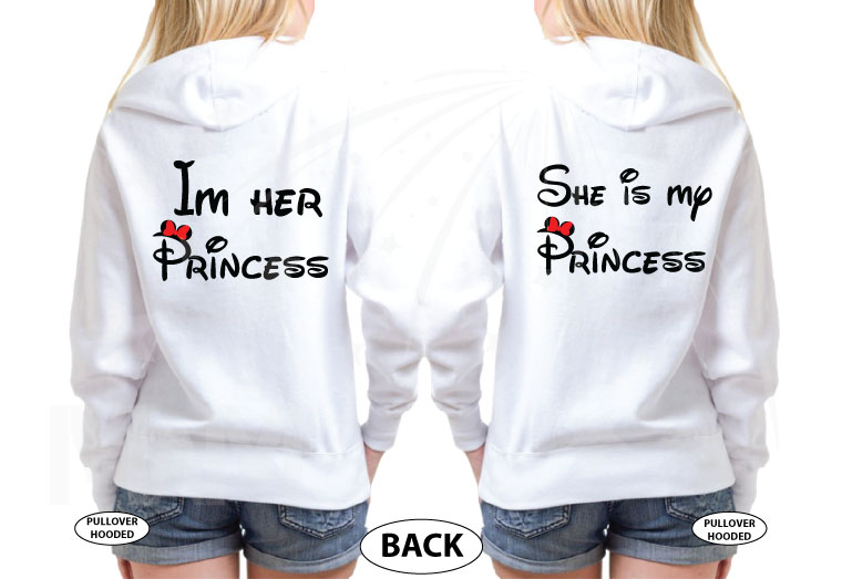 LGBT Lesbians Love Soulmate Shirts Kissing Minnie Mouse I'm Her Princess She's My Princess married with mickey white sweatshirts