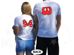Cute Mr Mrs Matching Shirts, Minnie Mouse Polka Dots Bow, Mickey Mouse Pants married with mickey white tshirts