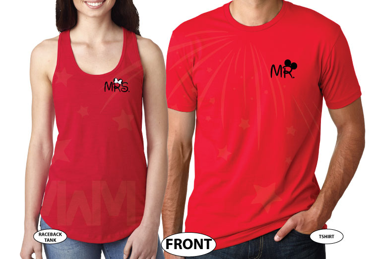 Cute Mr Mrs Matching Shirts, Minnie Mouse Polka Dots Bow, Mickey Mouse Pants married with mickey red tee and tank