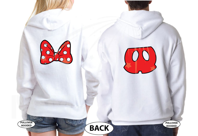 Cute Mr Mrs Matching Shirts, Minnie Mouse Polka Dots Bow, Mickey Mouse Pants married with mickey white hoodies