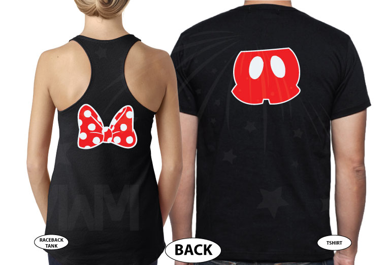 Cute Mr Mrs Matching Shirts, Minnie Mouse Polka Dots Bow, Mickey Mouse Pants married with mickey black tee and tank