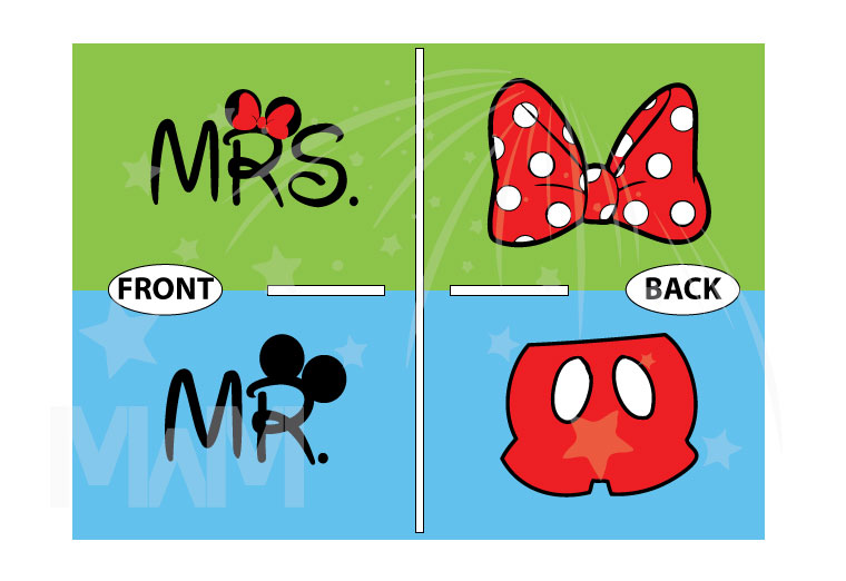 Cute Mr Mrs Matching Shirts, Minnie Mouse Polka Dots Bow, Mickey Mouse Pants married with mickey